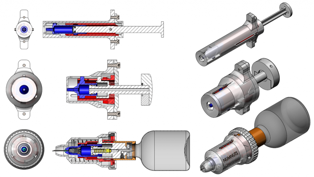 Numnuts injector design iterations.