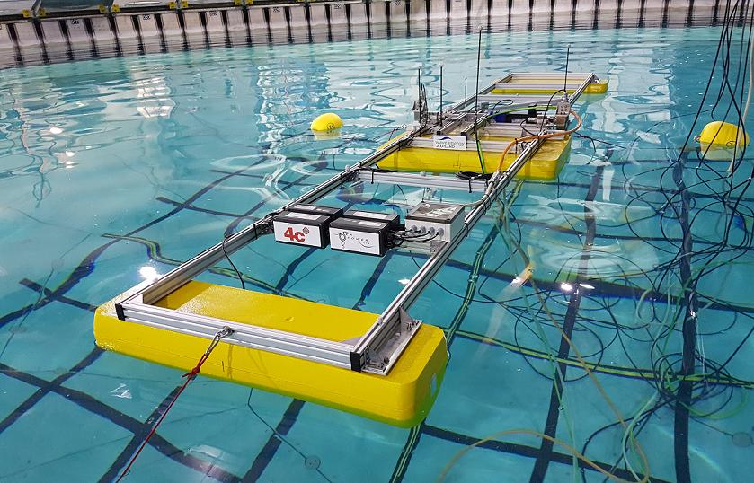 Scale model floating in FloWave test tank